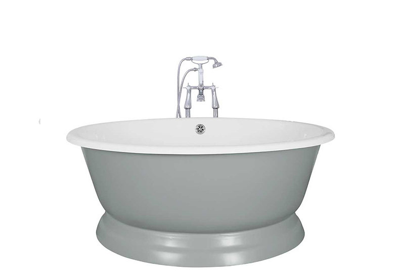 Jig Drum Cast Iron Bath painted in Farrow and Ball Parma Gray
