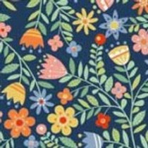 Crafty Cats - Flowers Blue