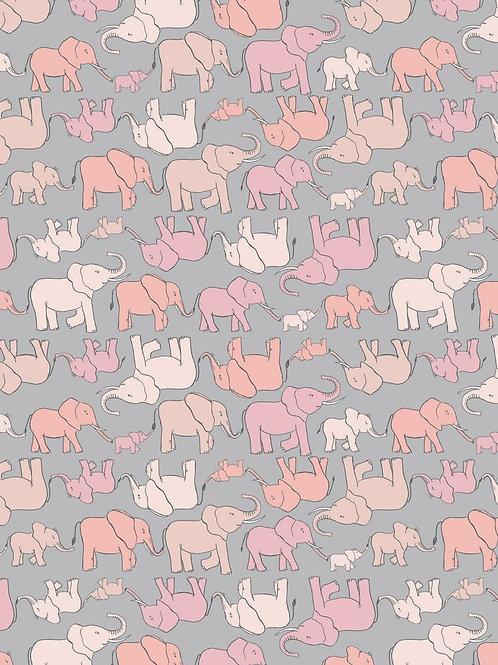 Marching Elephant Family - Pink on Grey