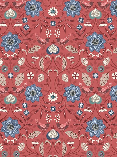 Lewis & Irene  - Michaelmas - Little bird floral on Soft Red