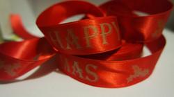 Red satin ribbon with Matt Gold foil