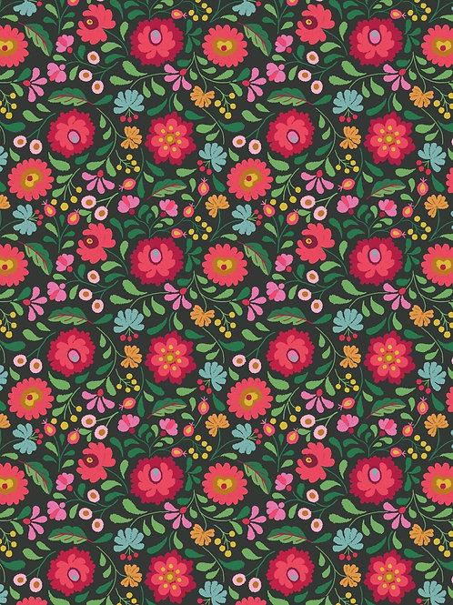 Lewis & Irene - Folksy Flowers on Black