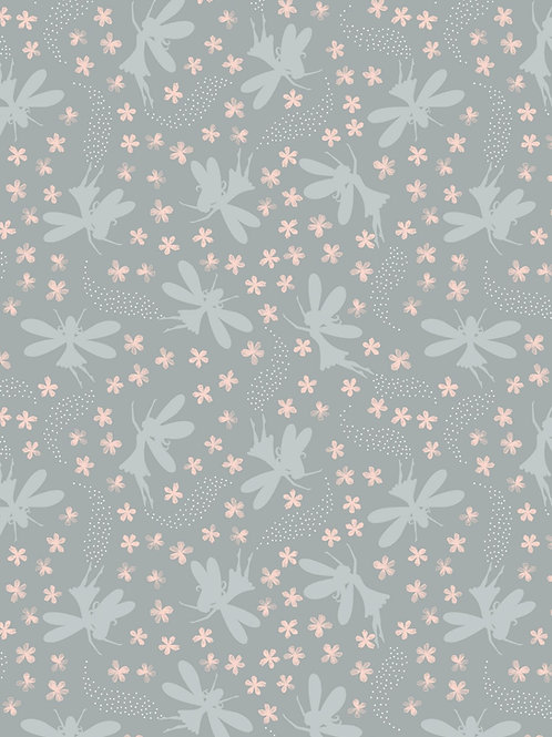 Fairy Clocks - Light Grey floral fairies with silver metallics