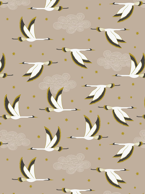 Jardin de Lis - Heron on Beige with gold metallic