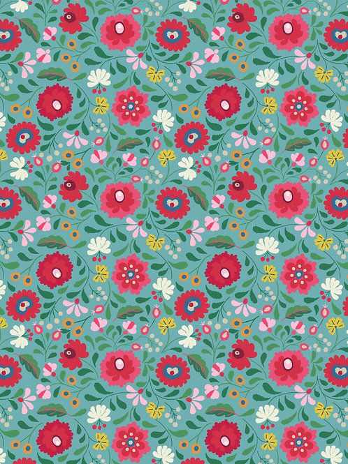Lewis & Irene - Folksy Flowers on Turquoise