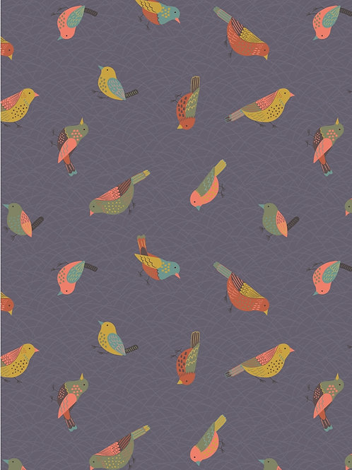 Lewis and Irene - 'The Hedgerow' Hedgerow Birds on Warm Grey