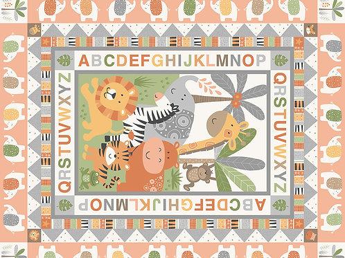 Makower 'Jungle Friends' large cot/playmat panel Pink
