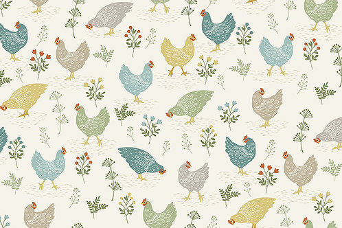 Makower 'Clara's Garden' Chickens on Cream