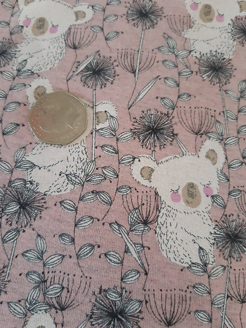 Cotton mix Jersey 'Koalas' on dusty pink