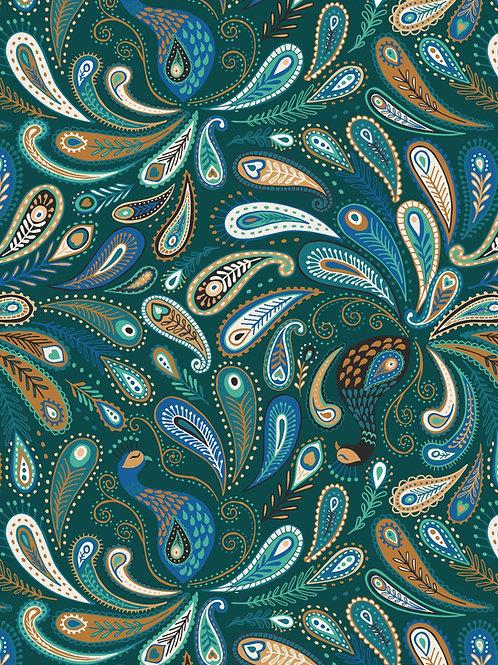 Lewis & Irene - Soraya - Paisley Peacocks on Dark Emerald
