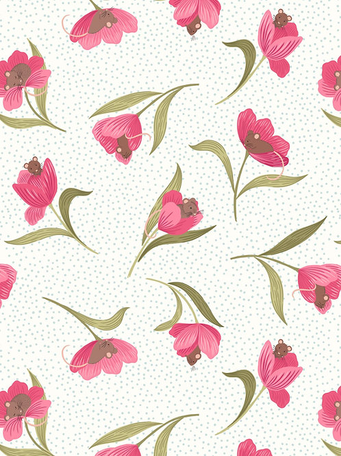 Tulip Fields - Tulips and Mouse on Cream