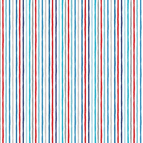 Makower 'Beside the Sea' Chalky Stripe on white