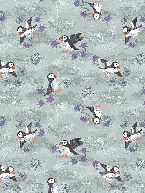 Lewis & Irene  - 'Iona' Blue/Grey Puffins with silver