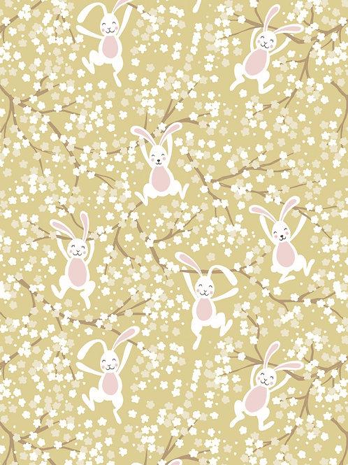 Bunny Hop - Swinging bunnies on Spring yellow