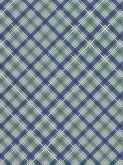 Lewis & Irene  - 'Iona' Blue check with Silvermetalli