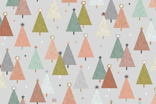 Makower 'Modern Metallic' Christmas Trees on soft Grey