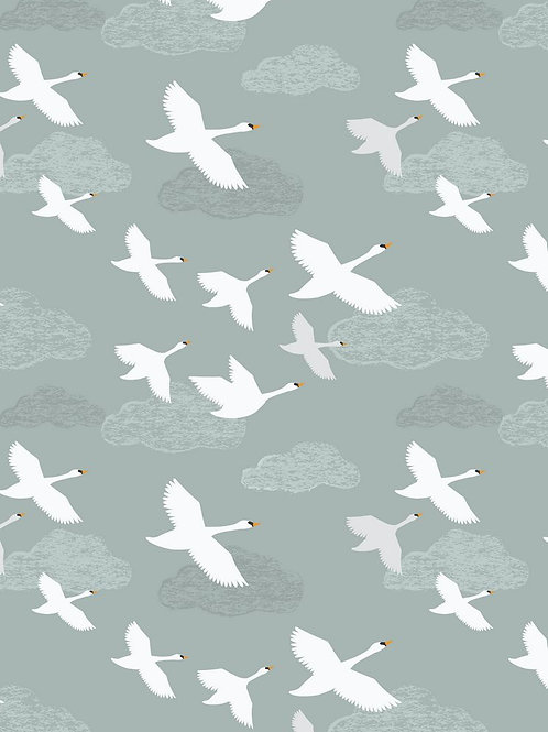 Swans in Flight on pale blue
