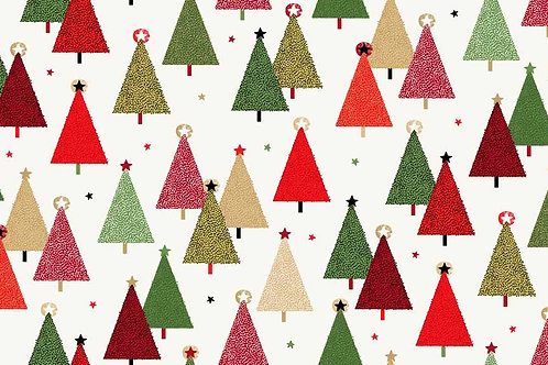 Makower 'Modern Metallic' Christmas Trees on Cream