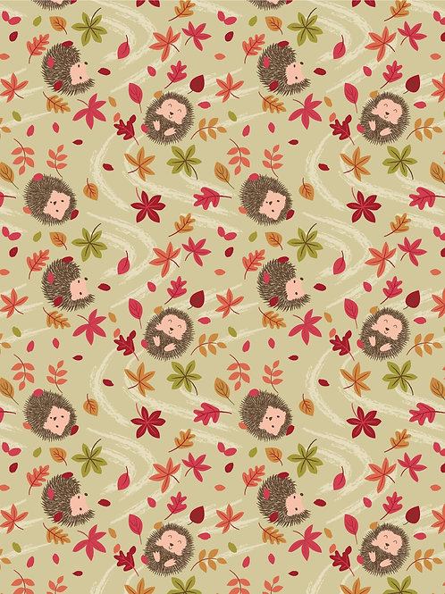 Cotton mix Jersey 'Hedgehogs' on Natural