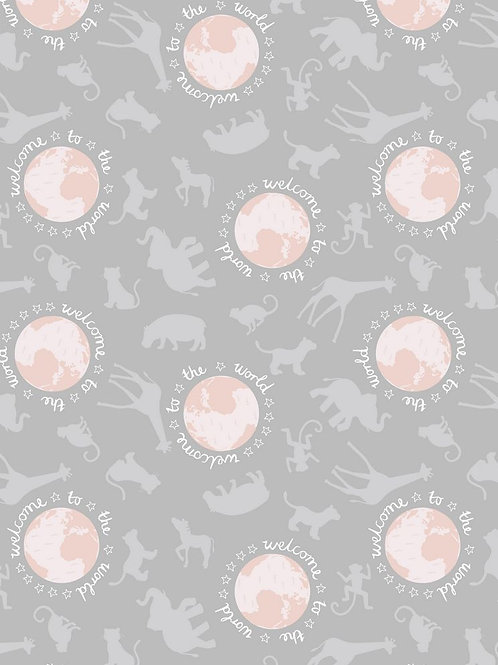 Welcome to the World - Pink on Grey