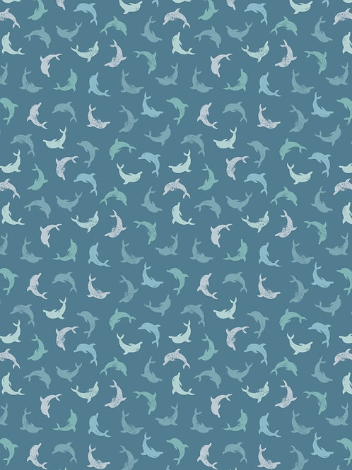 Lewis and Irene - 'Spindrift' Multi Twirling Dolphins on Dark Blue