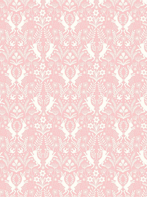 Lewis & Irene - Little Hares White on Pink