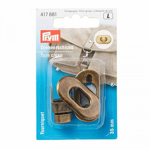 Prym - Turn Clasp for Bags - Antique Brass