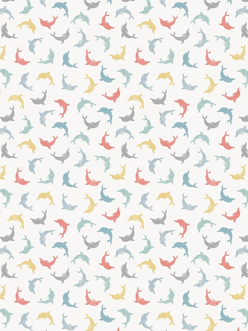 Lewis and Irene - 'Spindrift' Multi Twirling Dolphins on White