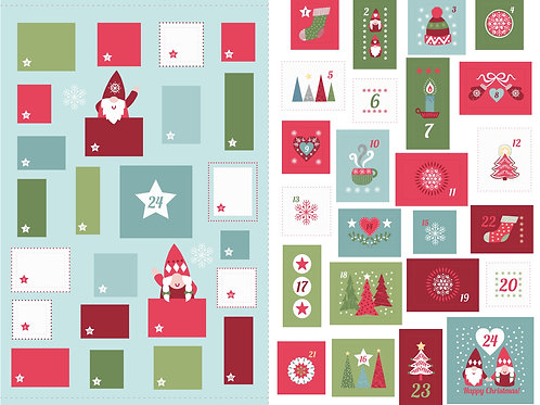 'Hygge' Christmas Advent Calendar large panel - Icy blue