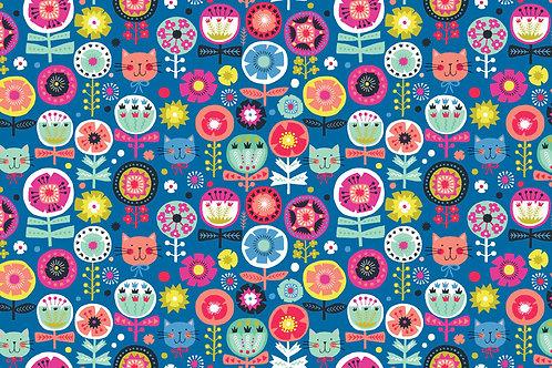 Makower 'Kitty' - Floral on Blue