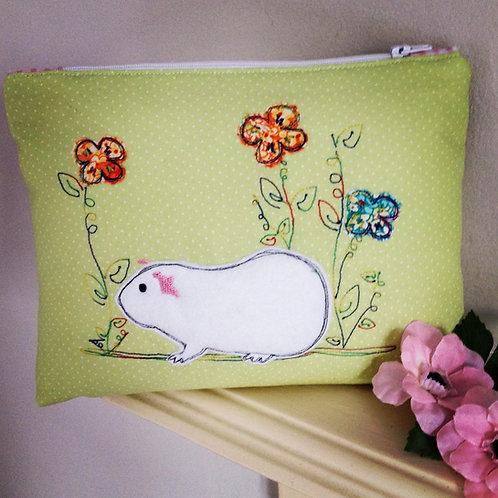 Guinea Pig applique make up purse