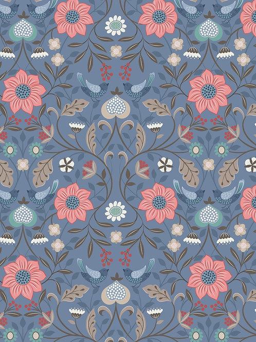 Lewis & Irene  - Michaelmas - Little bird floral on Blue