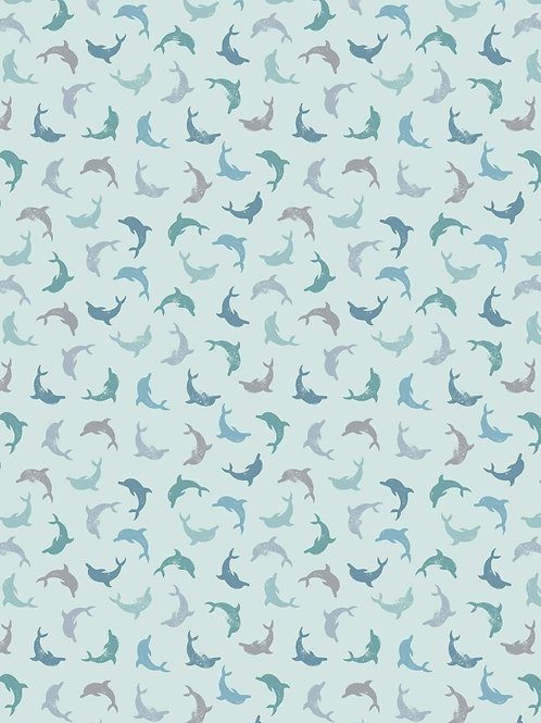Lewis and Irene - 'Spindrift' Multi Twirling Dolphins on Blue