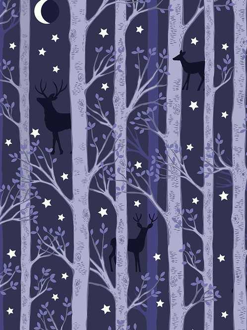 Nighttime in Bluebell Wood - Forest Deer Midnight Blue
