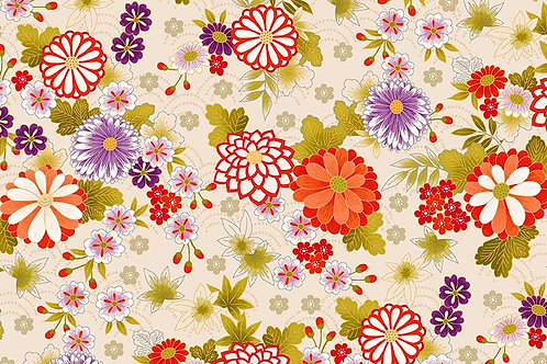 Makower 'Kimono' - Chrysanthemum on Cream