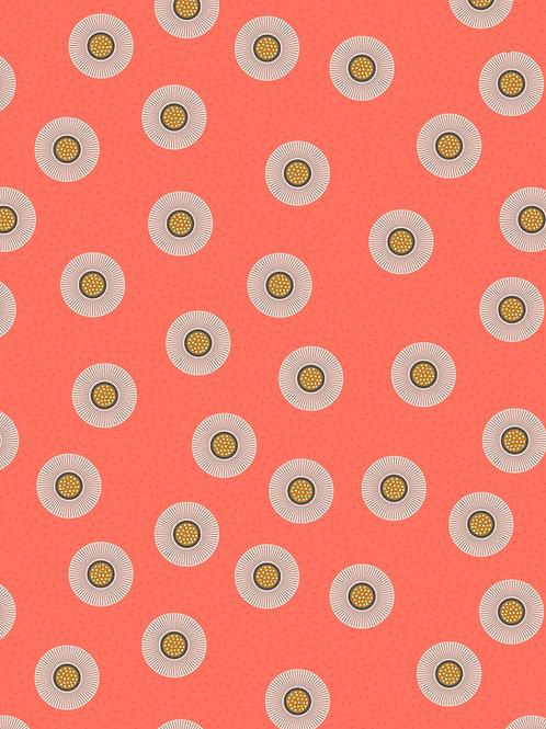Lewis & Irene - Forme Dark Coral Flower dots