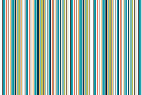 Makower 'Jungle Friends' Straight Stripe Blue