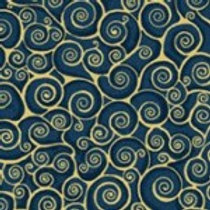 Makower 'Rhapsody' Scroll on Sea Blue