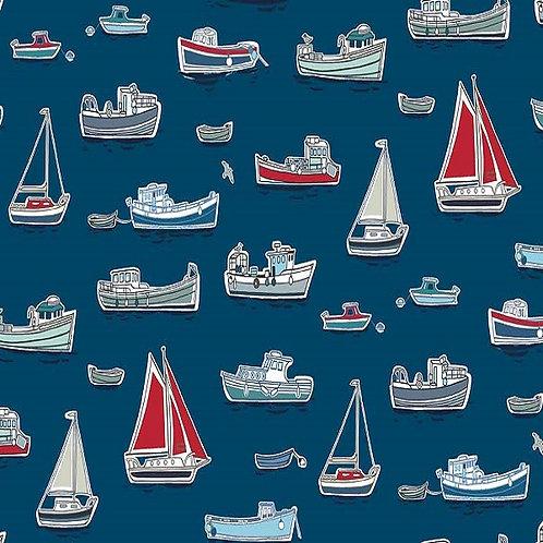 Makower 'Harbour' Boats on Blue