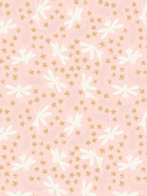Fairy Clocks - Light Pink floral fairies with silver metallics