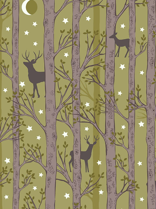 Nighttime in Bluebell Wood - Forest Deer Leaf Green