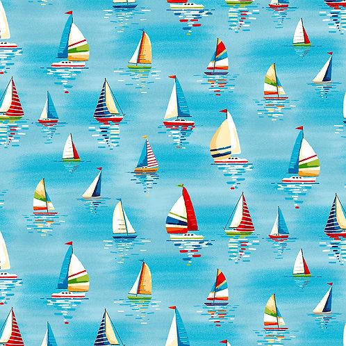 Makower 'Beside the Sea' Sail boats on Sky Blue