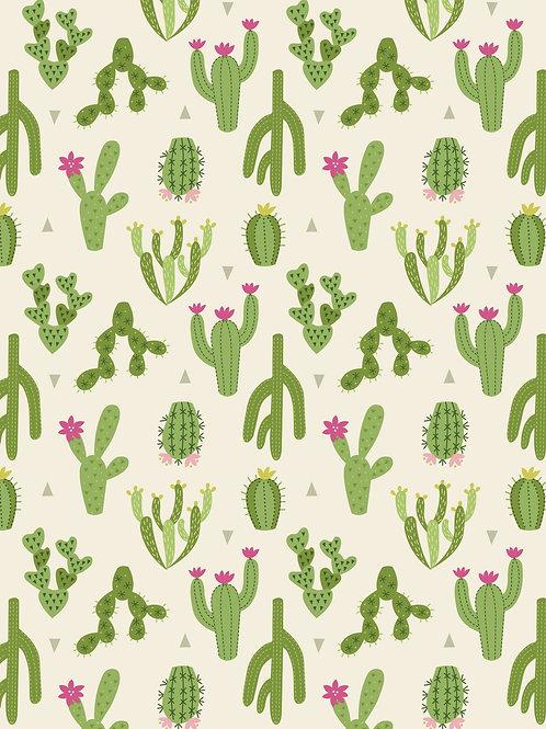 Cotton mix Jersey 'Cactus' on White