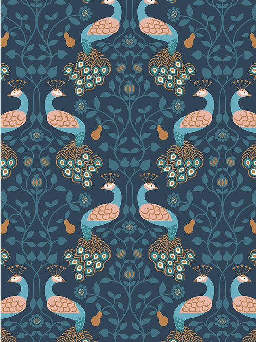 Lewis and Irene - 'Chieveley' Peacock and Pear on Darkest Blue