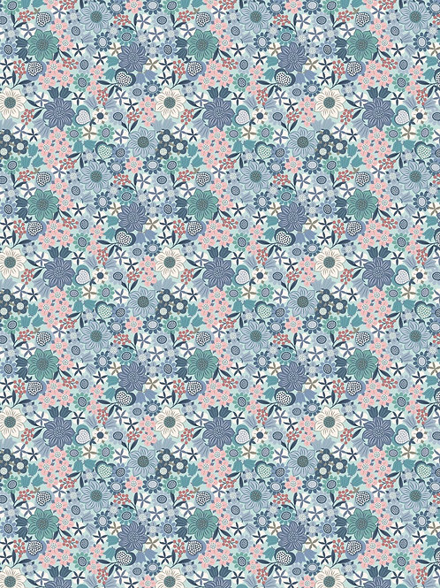 Lewis & Irene  - Michaelmas - Multi floral on Lt Blue