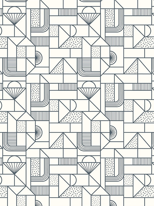 Lewis & Irene - Forme All over Geometric Navy on Cream