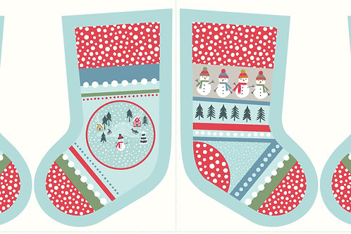 'Snowy Day' Christmas Stocking - Icy Blue