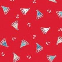 Makower 'Marina'Tossed Yachts on Red