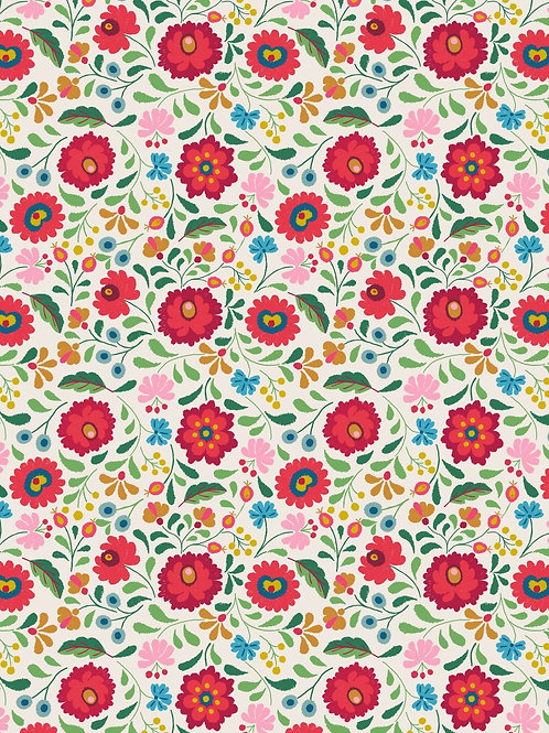 Lewis & Irene - Folksy Flowers on White