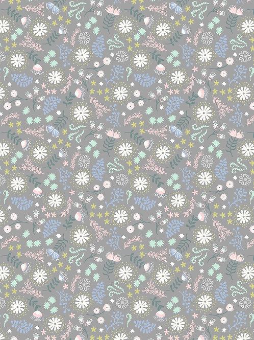 Lewis & Irene - Fairy Lights 'Magical Flowers on Grey'